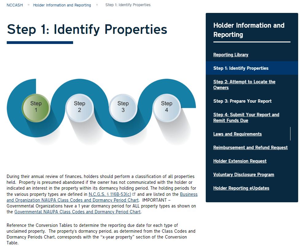 Holder Information & Reporting Step 1 -Identify Properties