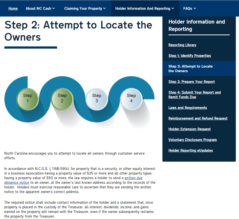Holder Information & Reporting Step 2 - Try to Locate the Rightful Owners
