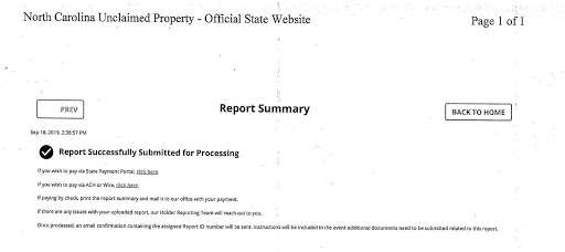 Holder Information & Reporting Step 4 - Report Submission and Remitting the Funds Due