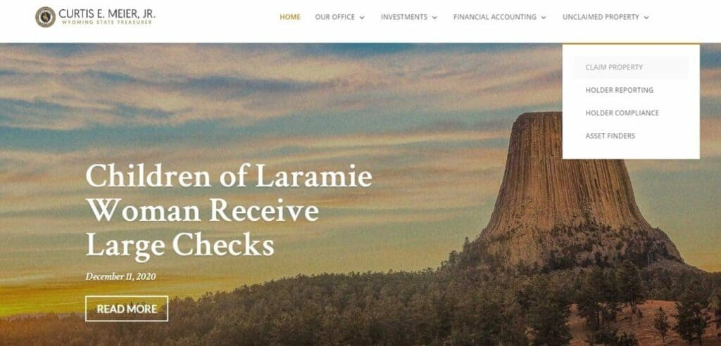 How to claim your Unclaimed Money_Property in Wyoming Step 1