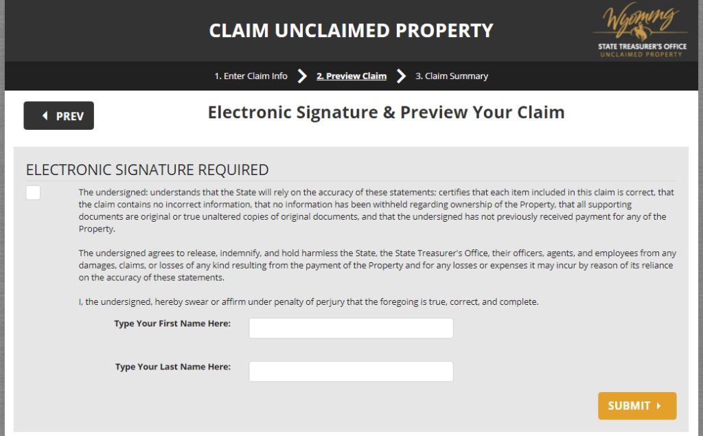 How to claim your Unclaimed Money_Property in Wyoming Step 10