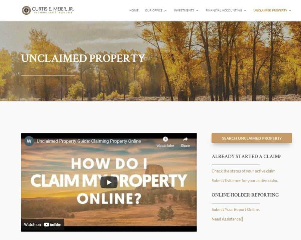 How to claim your Unclaimed Money_Property in Wyoming Step 2