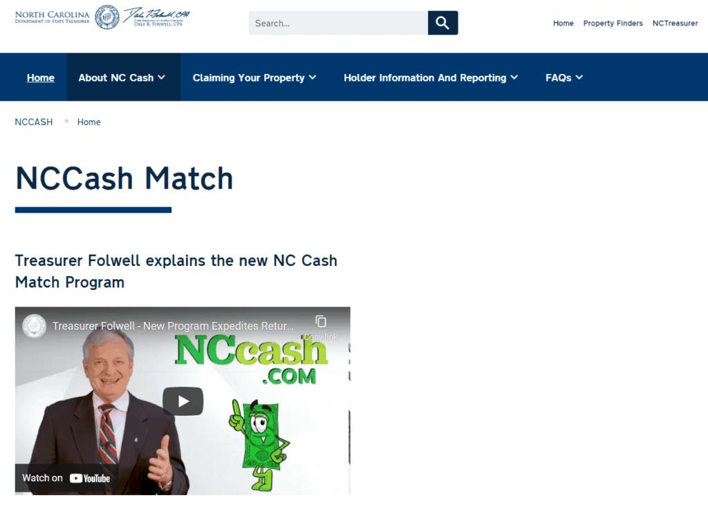 North Carolina NCCash Match Program