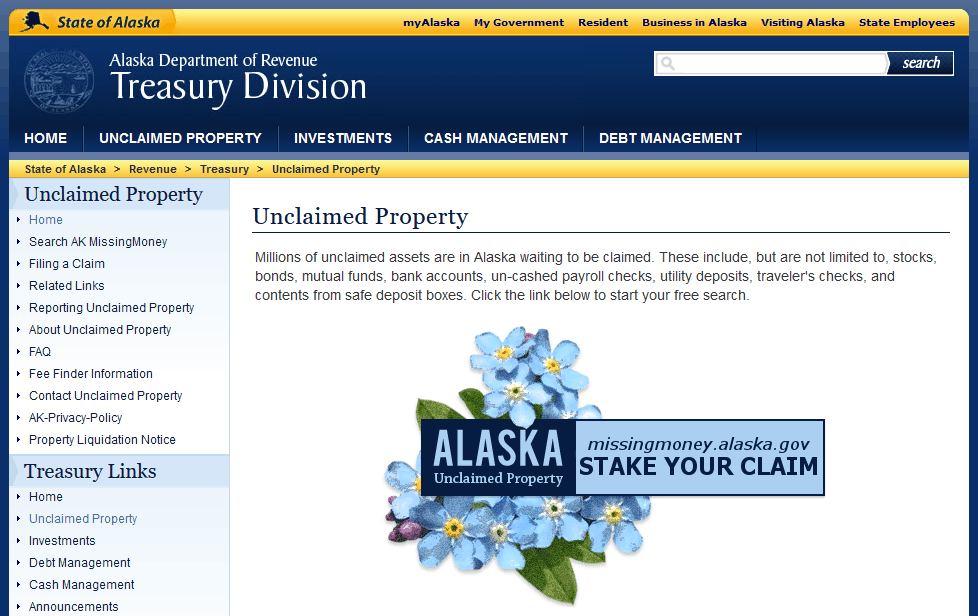 Unclaimed Money Database in Alaska