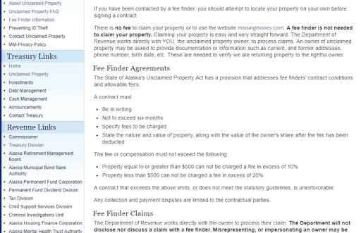 Unclaimed Money FAQs in Alaska
