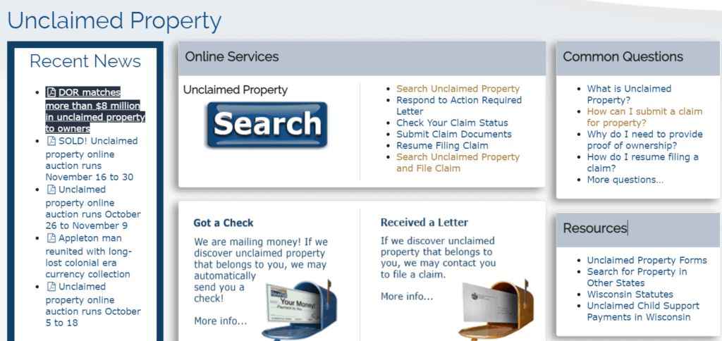 Unclaimed Property in Wisconsin