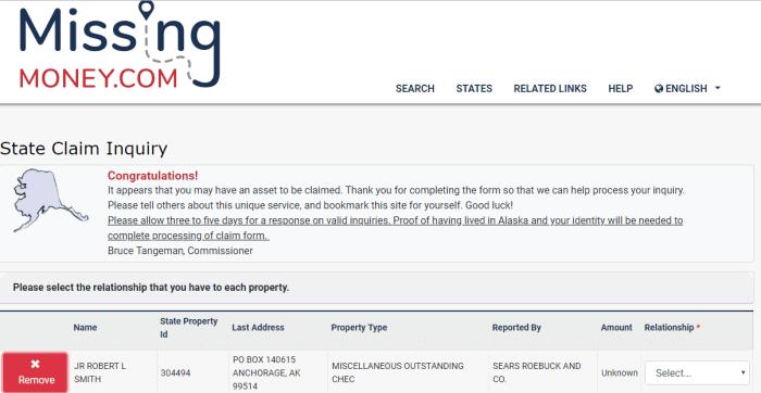 Unclaimed Property Money Finder in Alaska Step 8