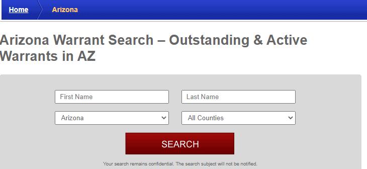 Arizona arrest warrant search