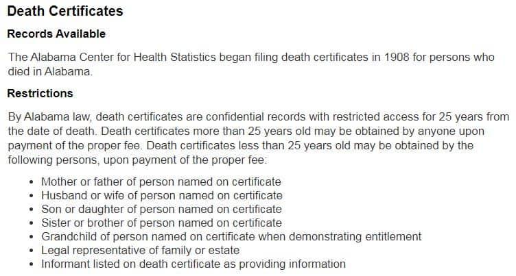 Death Certificates in Alabama