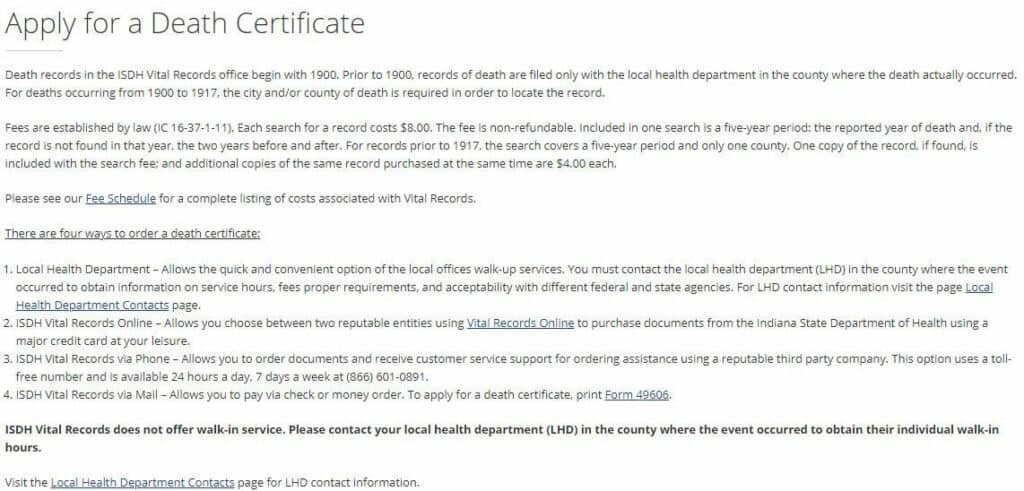 Death Certificates in Indiana