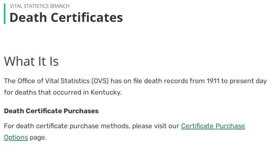 Death Certificates in Kentucky