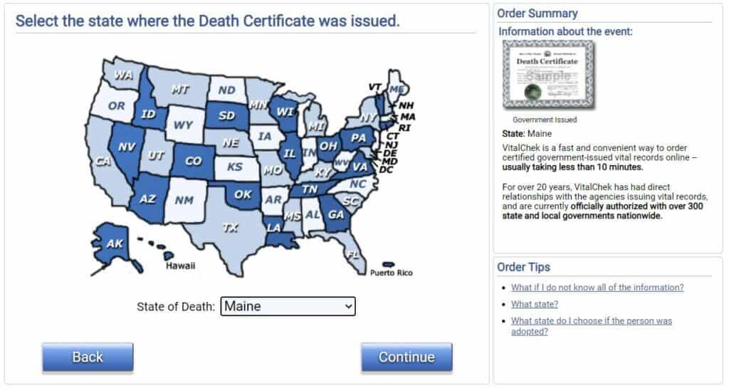 Death Certificates in Maine