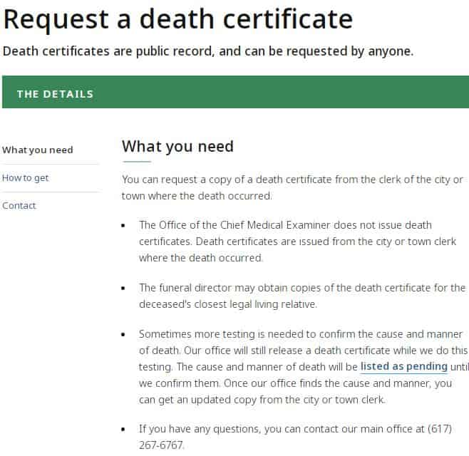 Death Certificates in Massachusetts