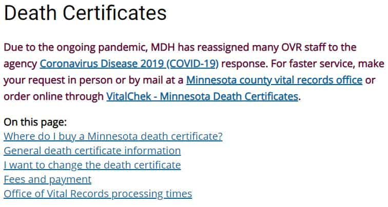 Death Certificates in Minnesota