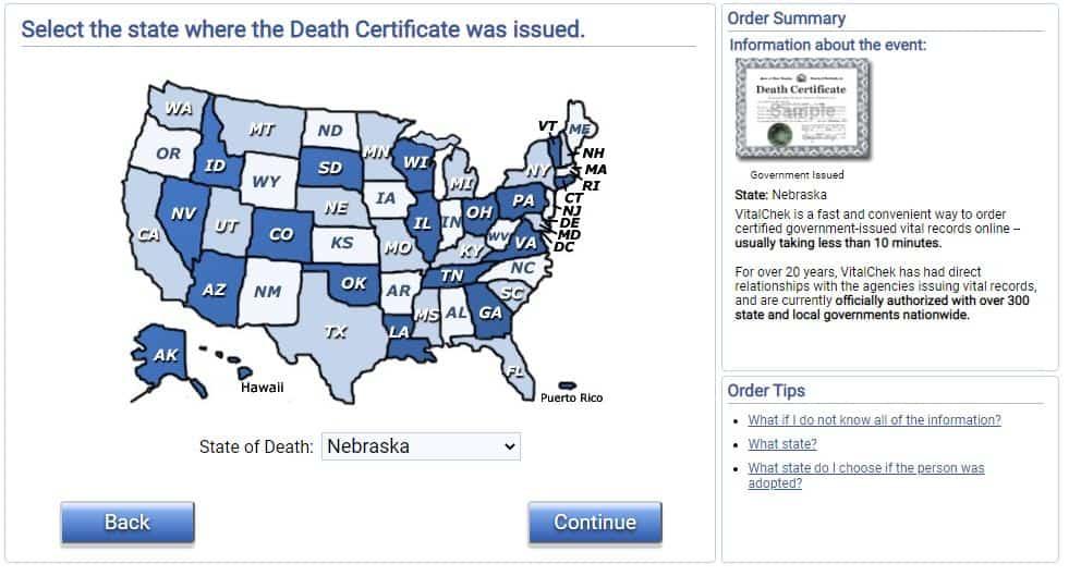 Death Certificates in Nebraska