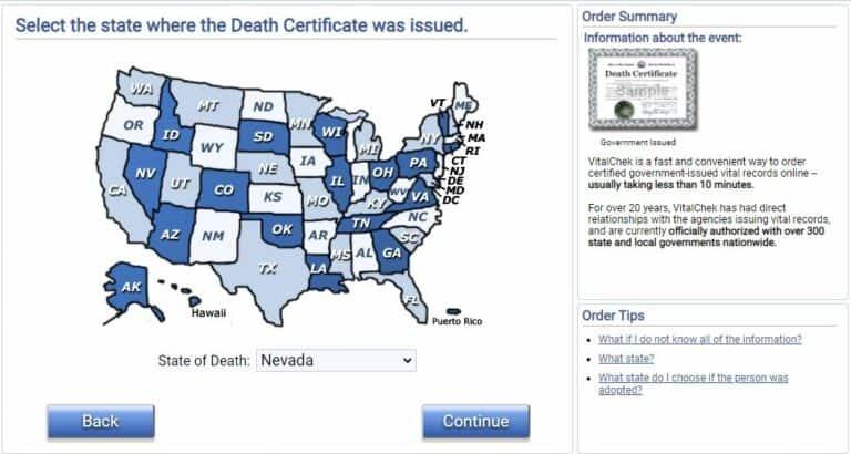 Death Certificates in Nevada