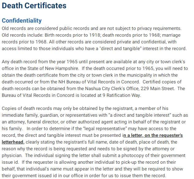 Death Certificates in New Hampshire