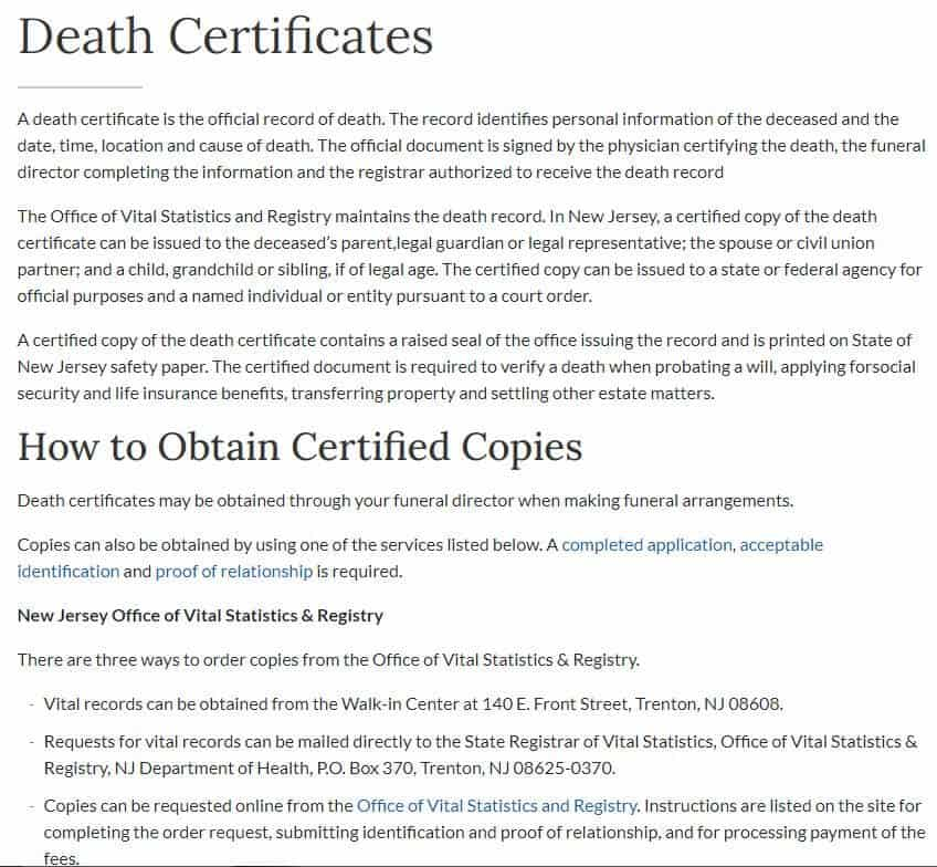 Death Certificates in New Jersey