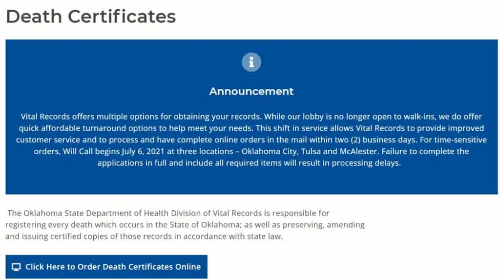 Death Certificates in Oklahoma