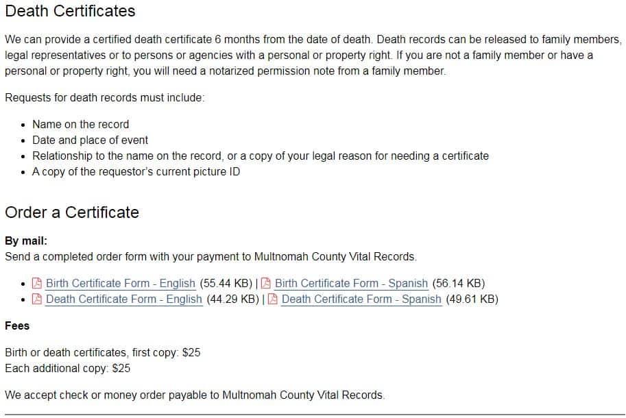 Death Certificates in Oregon