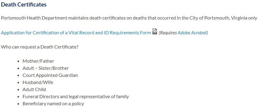 Death Certificates in Virginia