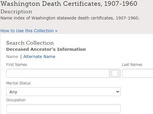 Death Certificates in Washington