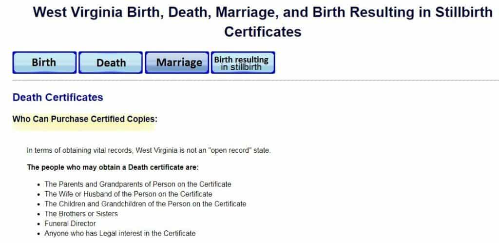 Death Certificates in West Virginia