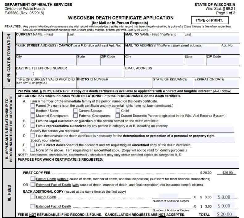 Death Certificates in Wisconsin
