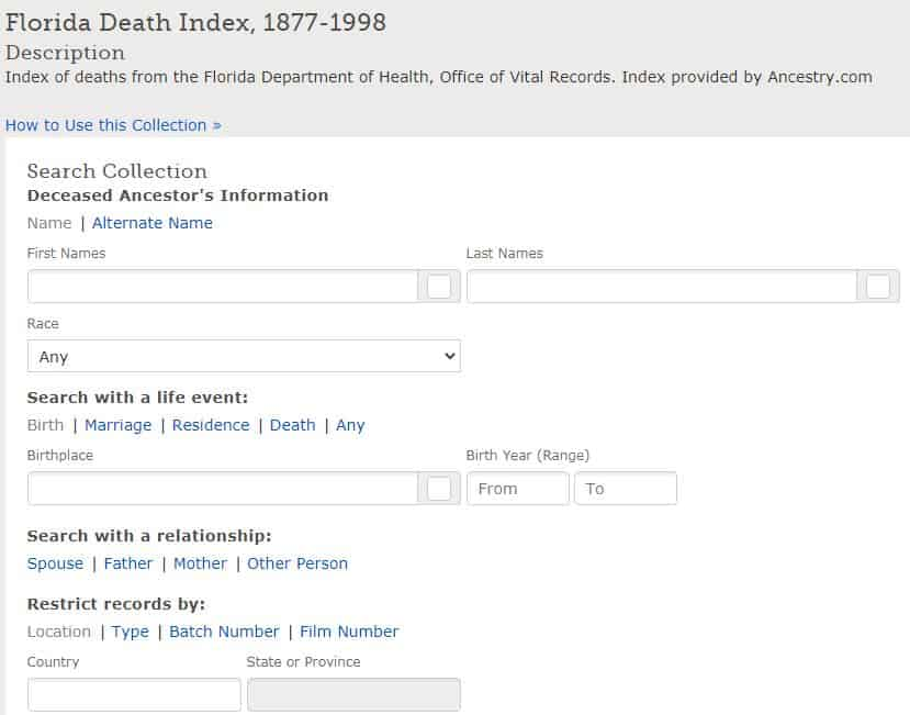 Florida Death Records Databases
