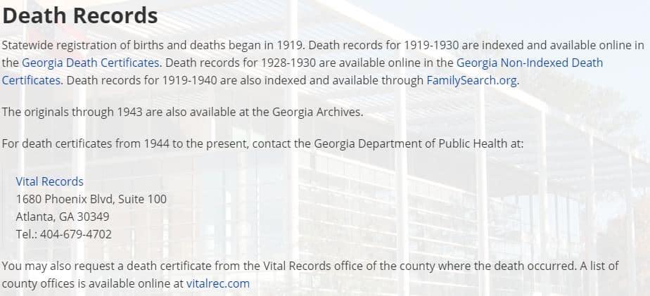 Georgia Death Records Databases