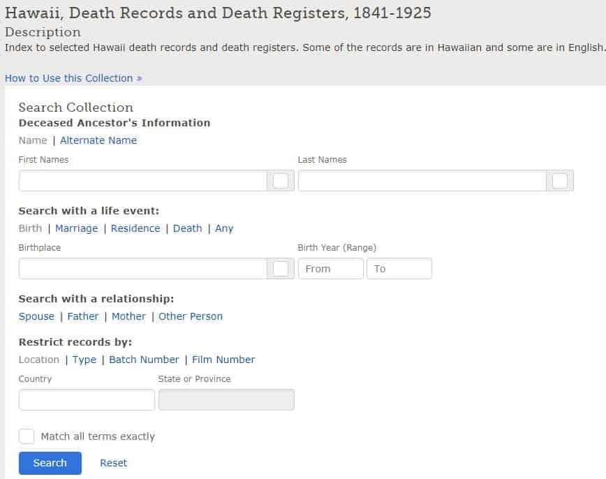 Hawaii Death Records
