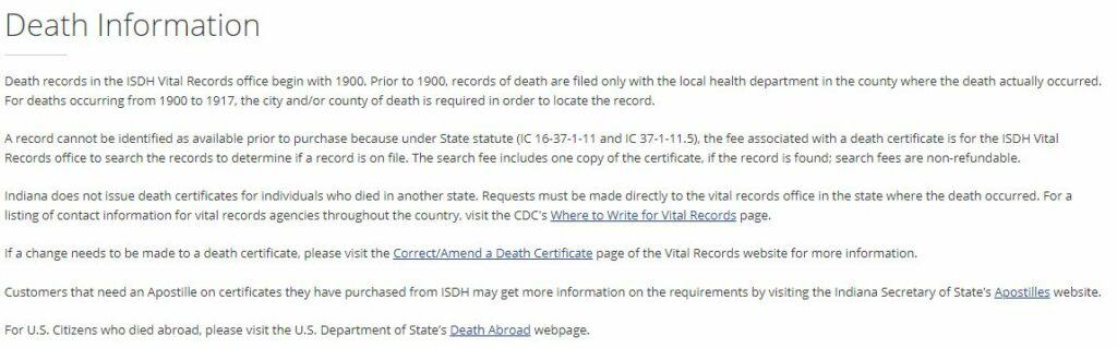 Indiana Death Databases