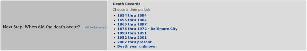 Maryland Death Databases