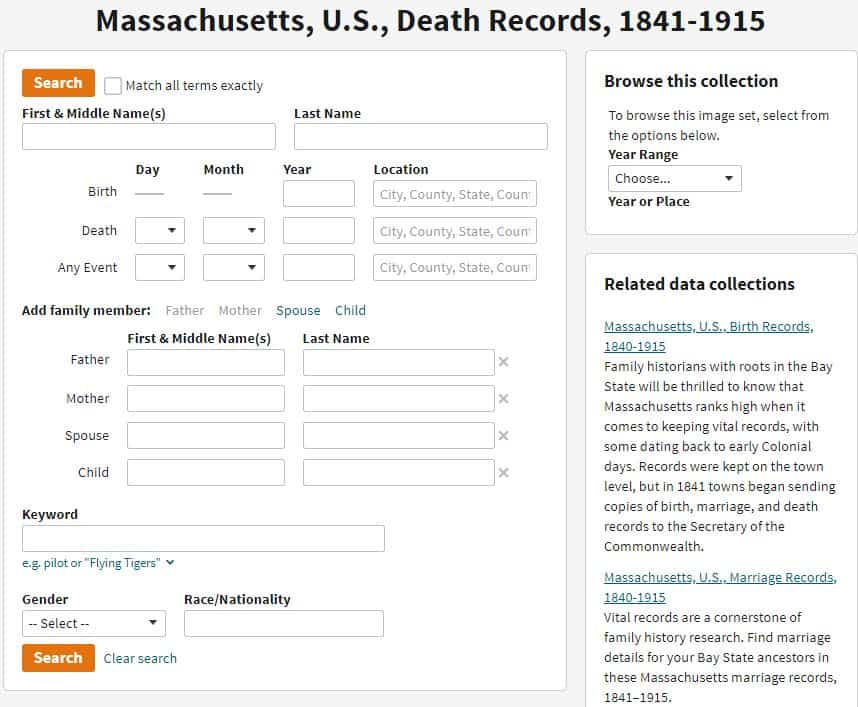 Massachusetts Death Records