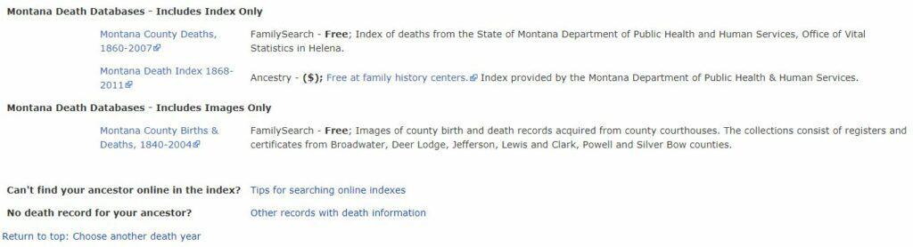 Montana Death Databases
