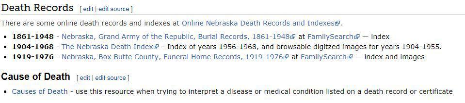 Nebraska Death Records