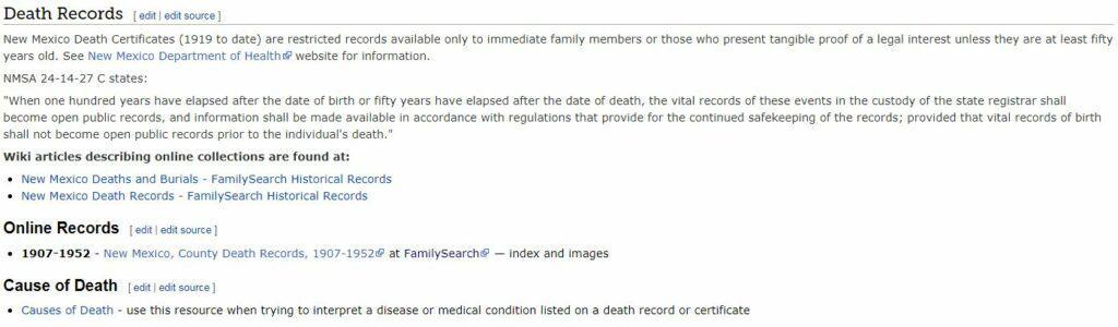 New Mexico Death Records