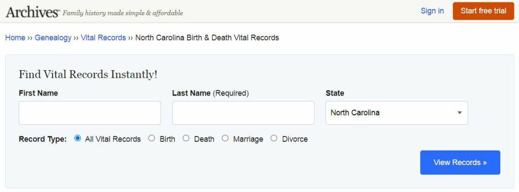 North Carolina Death Records