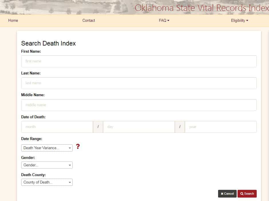 Oklahoma Death Records