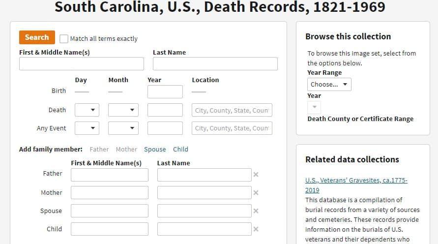 South Carolina Death Databases