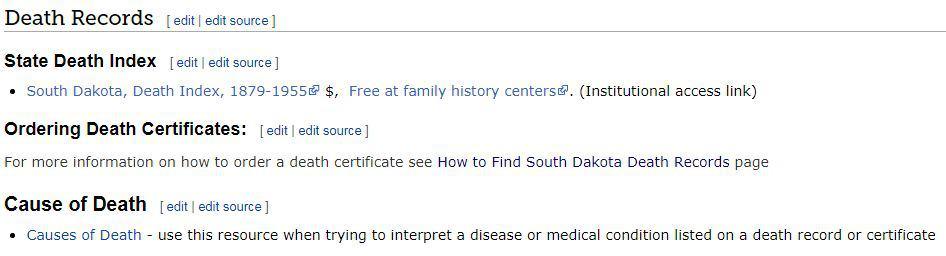 South Dakota Death Records
