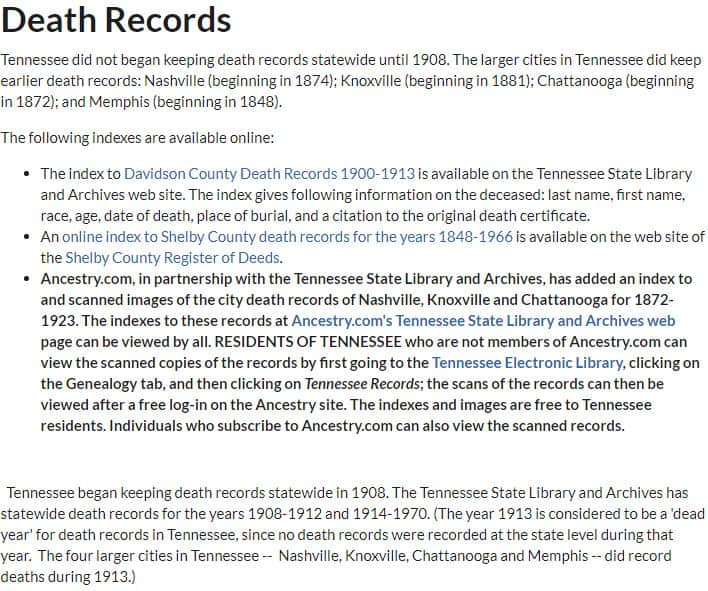 Tennessee Death Records