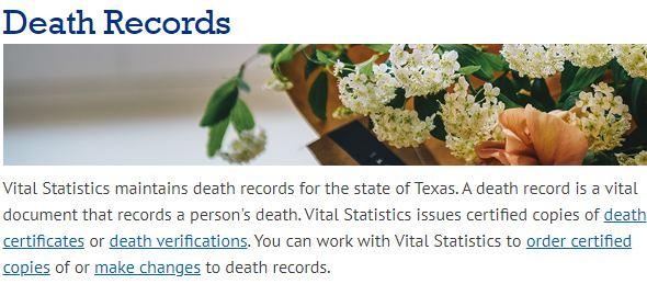 Texas Death Records