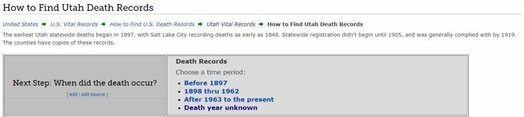 Utah Death Databases