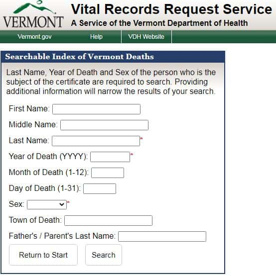 Vermont Death Databases