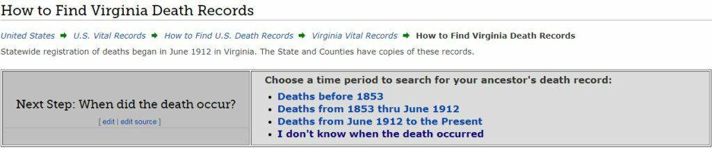 Virginia Death Databases