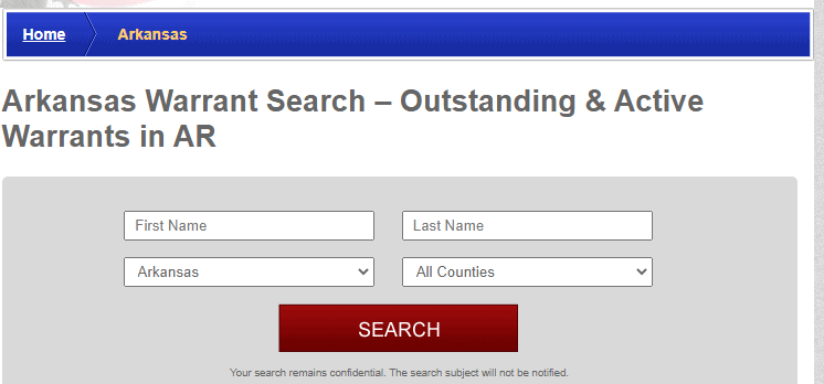 Arkansas arrest warrant search