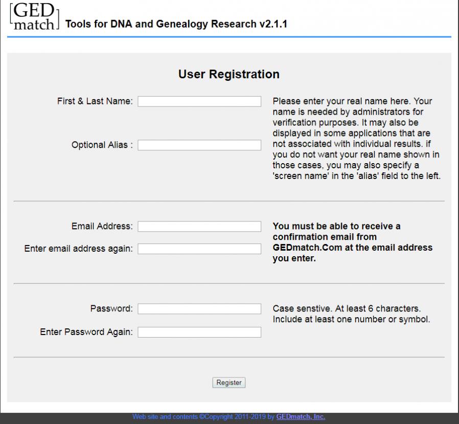 GEDMatch Registration image